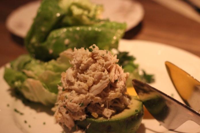 Crab stuffed avocado with bib lettuce and dijon sherry vinaigrette