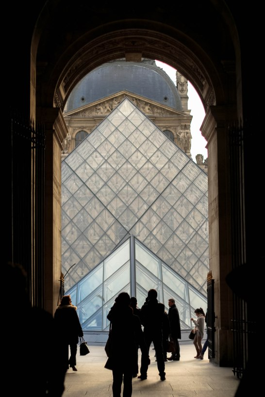 Louvre entrance. In my opinion, this is the best way to enter the Louvre as it makes the pyramids so mysterious.