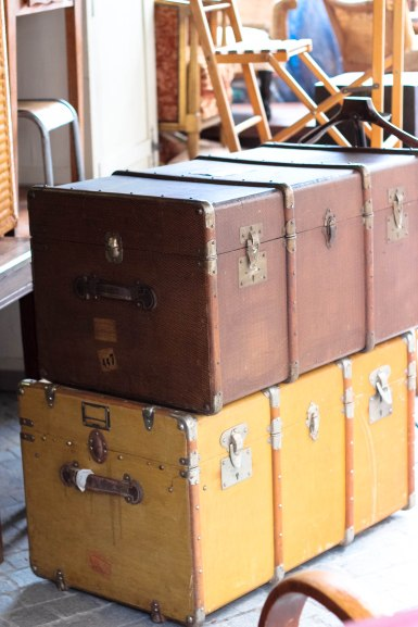 Paris Flea Market - I wanted to bring these trunks home