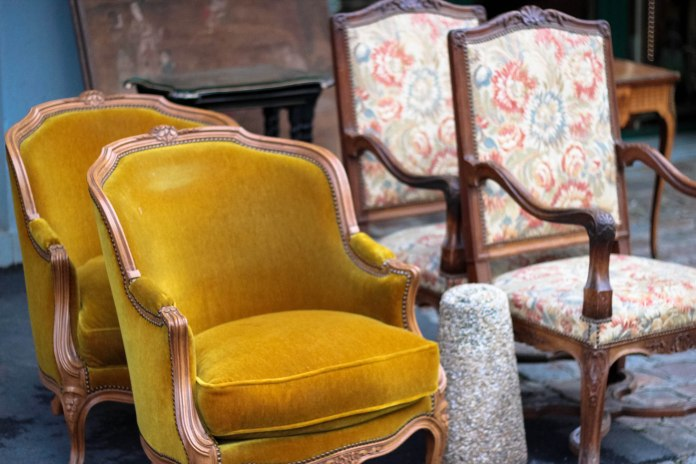 Paris Flea Market - Okay, I wanted these mustard chairs