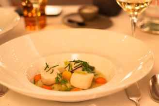 Scallops and vegetables