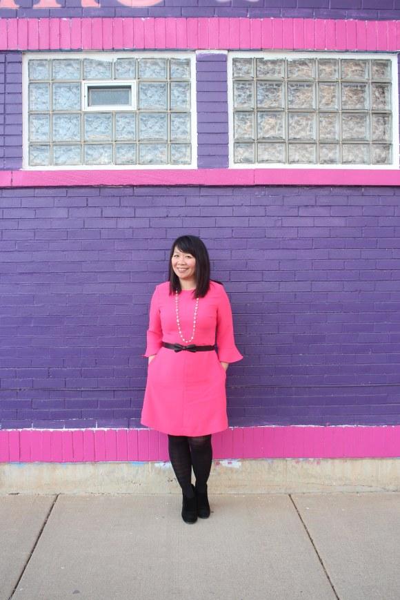 BR Pink Flutter Sleeve Dress2